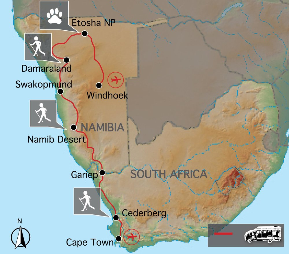 Routekaart van Cape to Namibia