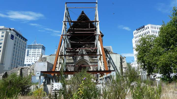 Christchurch Cathedral na de aardbeving