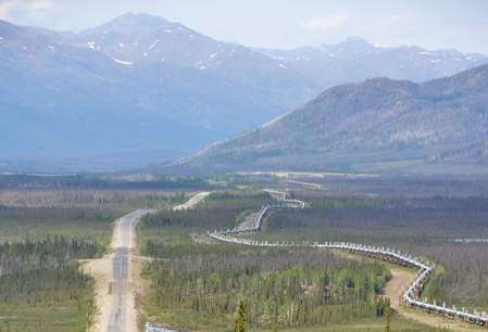 Dalton Highway langs de Trans-Alaska oil pipeline